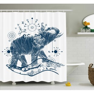 Geometric Sacred Occult Symbol Print Single Shower Curtain