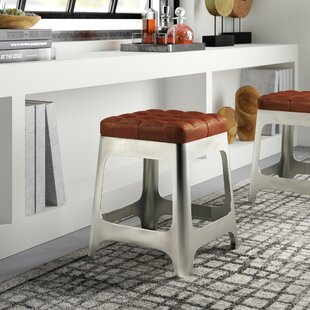 Benkelman Iron and Leather 20 Bar Stool by Greyleigh