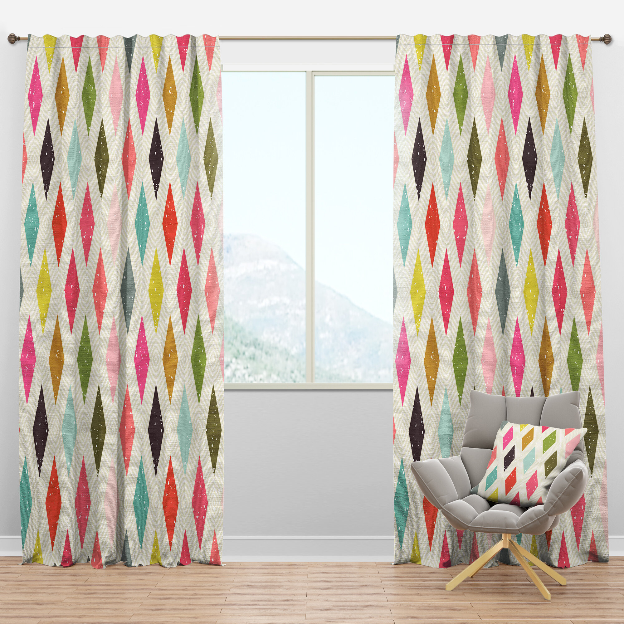 Designart Mid Century Diamond Retro Iii Geometric Semi Sheer Thermal Rod Pocket Single Curtain Panel Wayfair