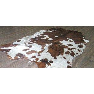Bargain Lynnfield Hand Woven Cowhide Brown/White White Area Rug ByLoon Peak