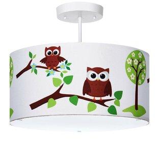 Chulmleigh Owl 3-Light Semi Flush Mount by Harriet Bee