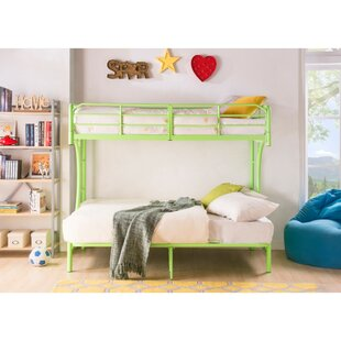 Sunburg Contemporary Metal Twin Over Full Futon Bunk Bed by Harriet Bee