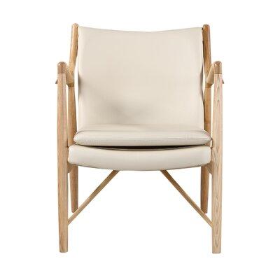 Rashad Armchair Corrigan Studio Upholstery: Cream Italian Leather/Natural