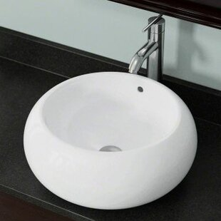 Reviews Vitreous China Circular Vessel Bathroom Sink with Overflow ByPolaris Sinks