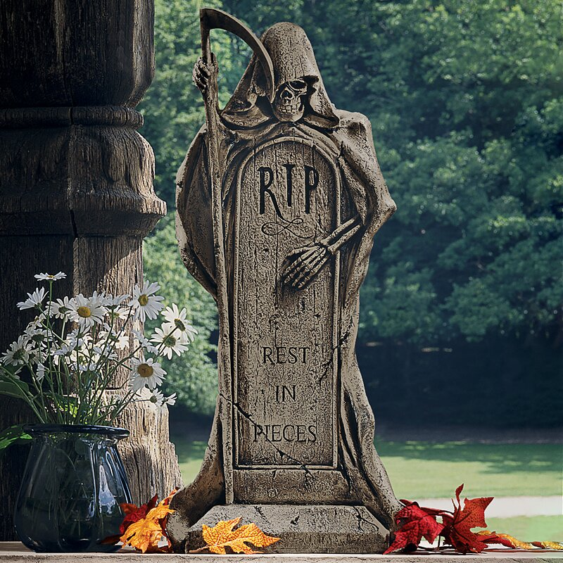 Grim Reaper Tombstone Statue
