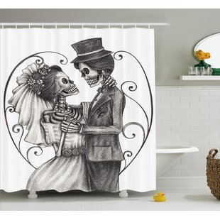 Gale Day of The Dead Love Skull Skeleton Marriage Eternal Love Spanish Festive Art Single Shower Curtain