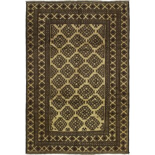Comparison One-of-a-Kind Alaska Hand-Knotted 5'11 x 9' Wool Brown/Black Area Rug By Isabelline