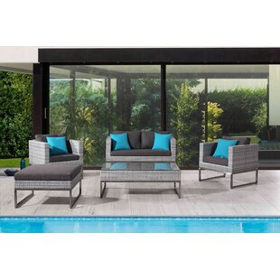 Goncalves 5 Piece Rattan Sofa Set with Cushions