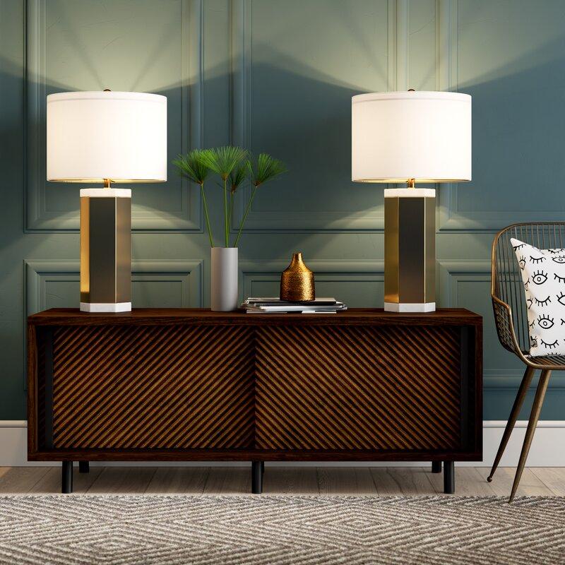 Mercury Row Fannin 28 Gold Table Lamp Set Reviews Wayfair Ca