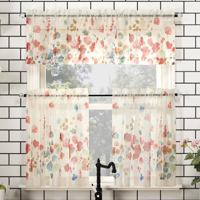 Baber Floral Watercolor Semi Sheer Rod Pocket Kitchen Window Valance