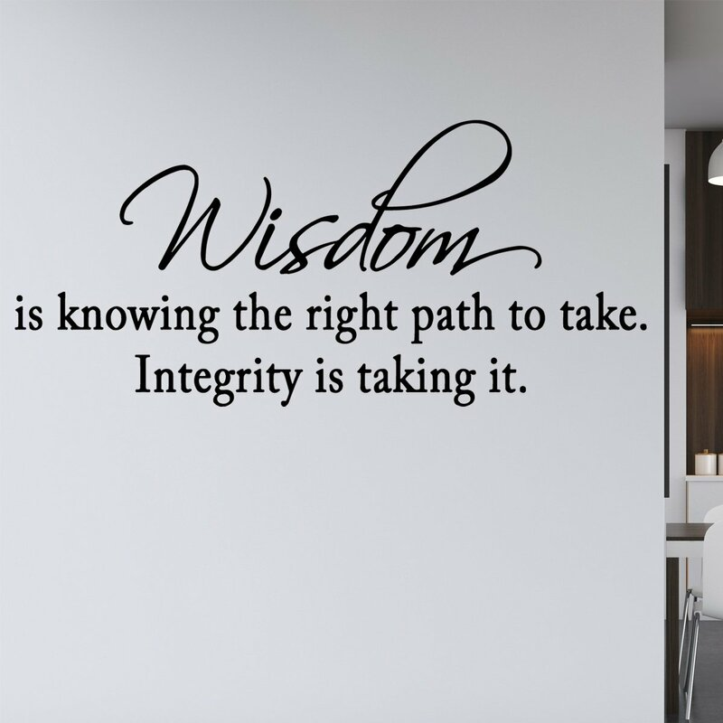 WISDOM KNOWING INTEGRITY Decor Vinyl Wall Decal Quote Sticker Inspiration