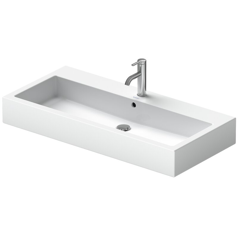 Duravit Vero White Ceramic Rectangular Wall Mount Bathroom Sink With Overflow Wayfair