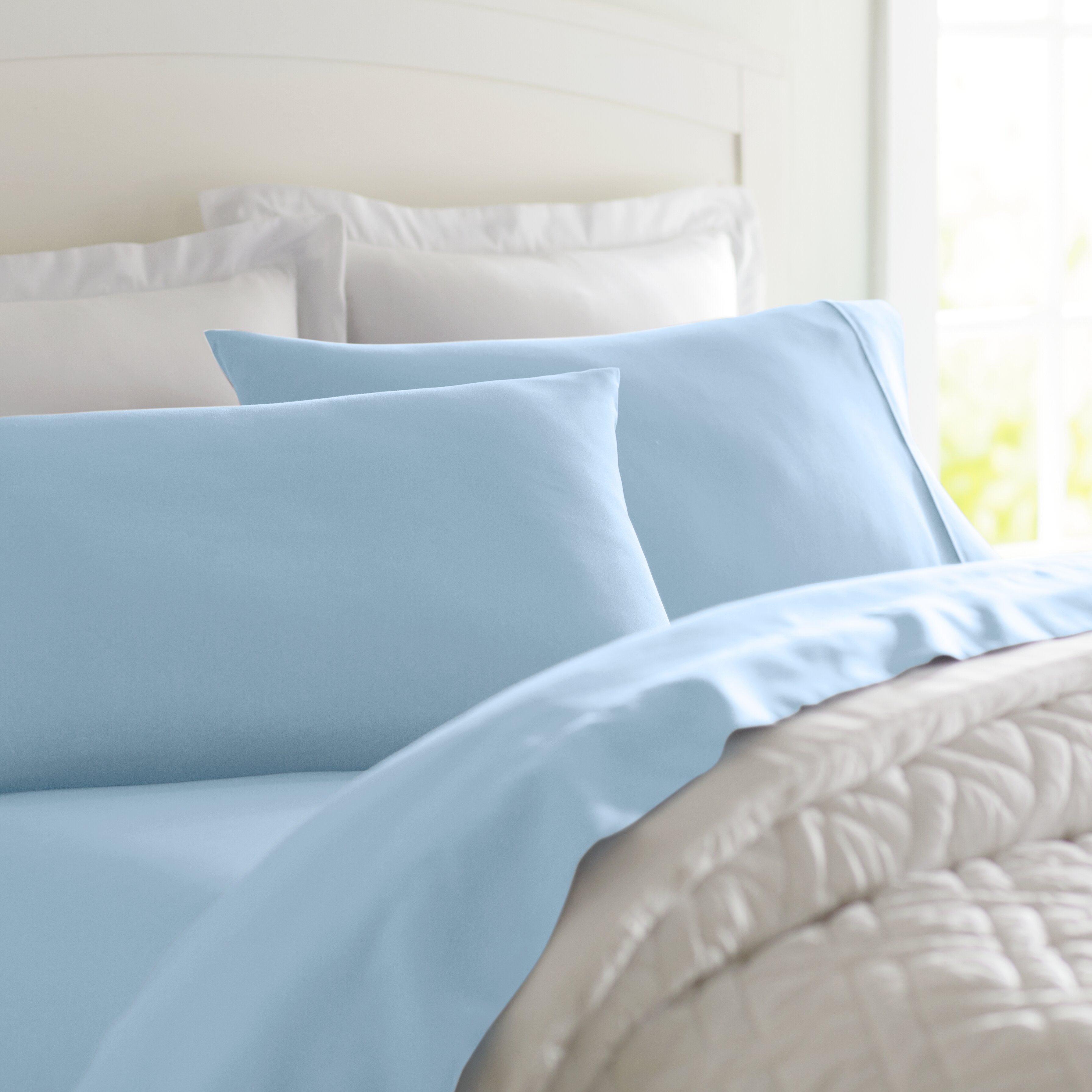 Home Bedding 4 Piece Solid Light Mint Sage Green Flat & Fitted Bed Sheet & Pillowcase Set