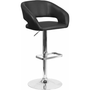 Orren Ellis Whelan Rounded Mid Back Adjustable Height Swivel Bar Stool