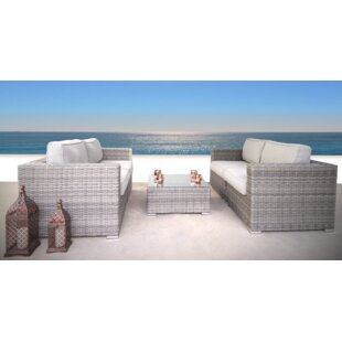 Cepeda 3 Piece Rattan Sectional Set with Cushions ByRosecliff Heights