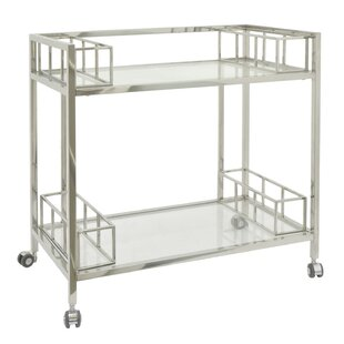 Brayden Studio Rowlett Metal/Glass Bar Cart