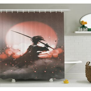 Japanese Samurai with Sword Shower Curtain + Hooks