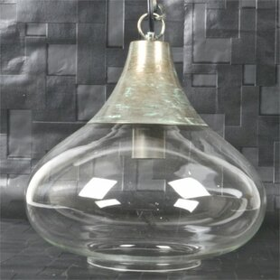 Gracie Oaks Whitlow Metal and Glass 1-Lig..