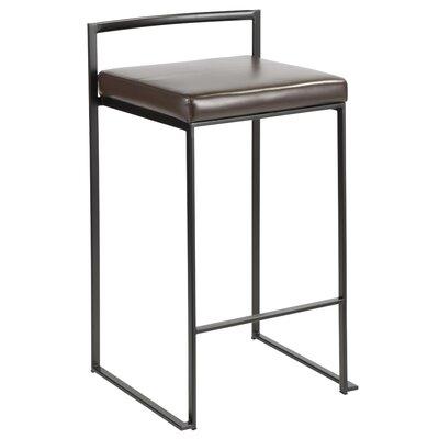 Amazing Wade Logan Gary Bar Counter Stool Upholstery Brown Faux Cjindustries Chair Design For Home Cjindustriesco