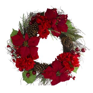 Battery Powered|Timing Setting Leaflai 24 Inch Christmas Wreaths for Front Door with red Berries Snowflakes Pine Cones and 50 Warm White LED Lights Outdoor Lighted Christmas Decorative Wreath