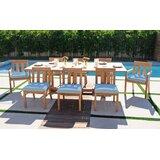 Crelake 9 Piece Teak Sunbrella Dining Set with Sunbrella Cushions