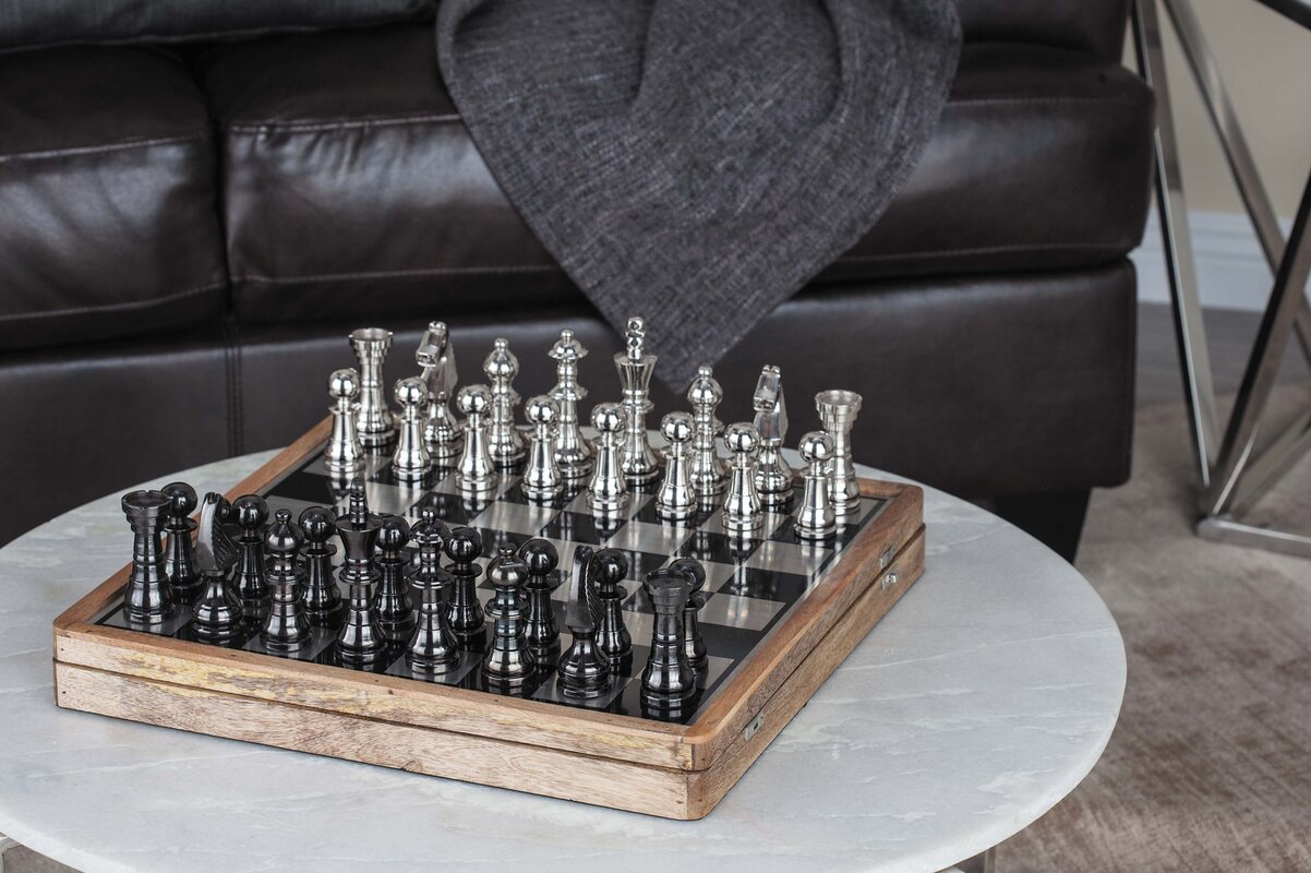 Aluminum/Wood Chess Set & Cole \u0026 Grey Aluminum/Wood Chess Set \u0026 Reviews | Wayfair