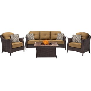 Stovall 4-Piece Outdoor Patio Conversation Fire Pit Coffee Table Set with Deep-Cushioned Sofa Arm Chairs and Liquid Propane Fire Pit by Canora Grey