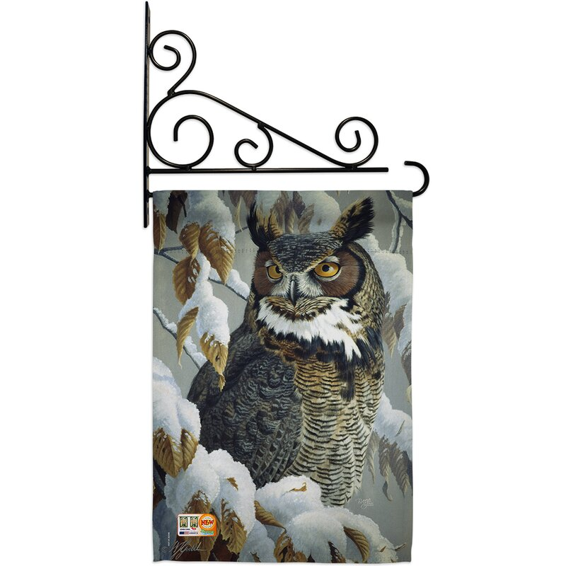 Breeze Decor Great Horned Owl 2 Sided Polyester 19 X 13 In Flag Set Wayfair