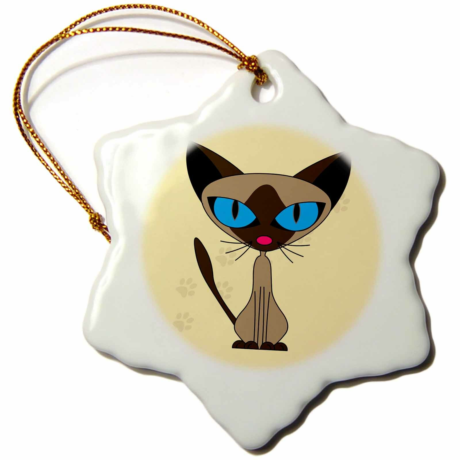 The Holiday Aisle Cute Siamese Cat Paw Prints Design Holiday Shaped Ornament Wayfair