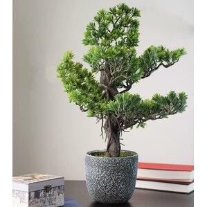 decorative artificial desktop japanese bonsai tree in round pot