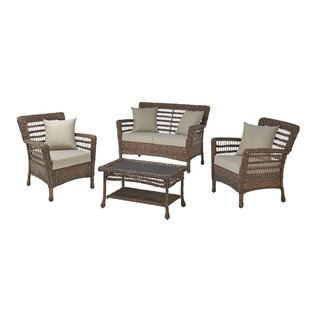 Boyles 4 Piece Conversation Set With Cushions By Rosecliff Heights