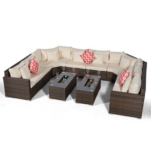 Villasenor Brown Rattan 8 Seat Sofa With 2 X Rectangle Ice Bucket Coffee Table, Outdoor Patio Garden Furniture By Sol 72 Outdoor