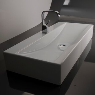 WS Bath Collections Ceramica Ceramic Rectangular Vessel Bathroom Sink with Overflow