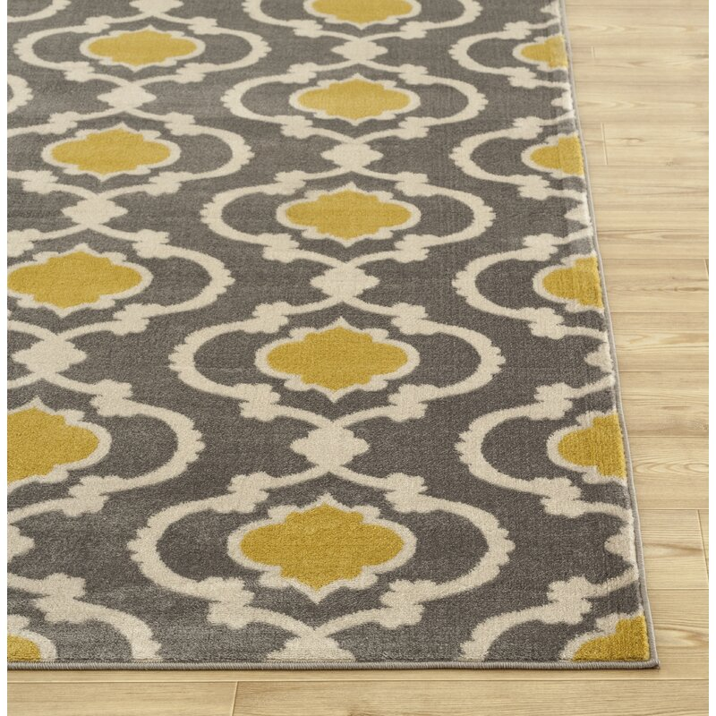 195b6b85f7e Andover Mills Melrose Polypropylene Grey Yellow Area Rug   Reviews ...