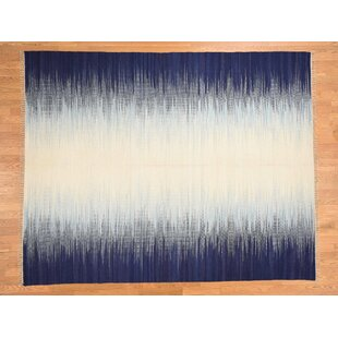 Best Reviews One-of-a-Kind Bessey Ocean Burst Design Handmade Kilim 8'1 x 10'3 Wool Blue/White Area Rug By Isabelline