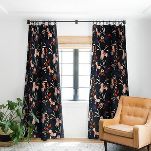 Holli Zollinger Anthology of Pattern Seville Garden Black Blackout Rod Pocket Single Curtain Panel by East Urban Home