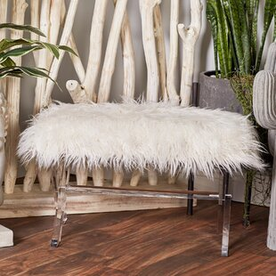 Bargain Acrylic Faux Fur Vanity Stool ByCole & Grey