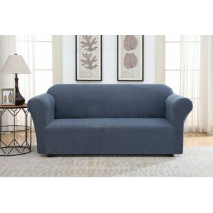 Solid Striae Box Cushion Sofa Slipcover