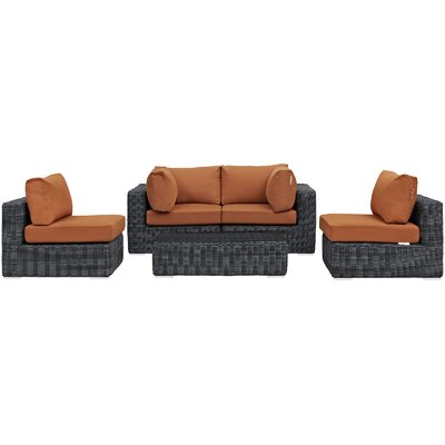 Alaia 5 Piece Rattan Sunbrella Sectional Seating Group with Cushions Cushion Color: Tuscan by Brayden Studio