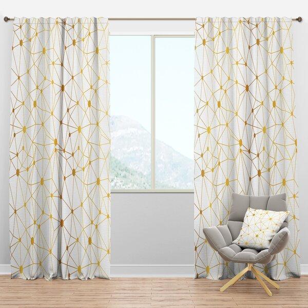 Designart Golden Grid I Geometric Semi Sheer Thermal Rod Pocket Single Curtain Panel Wayfair