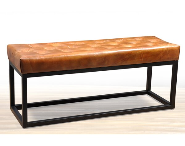 Black Adelinda Metal And Leather Bench by Allmodern