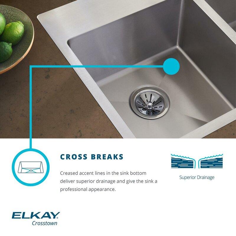 crosstown 36   x 21   double basin undermount kitchen sink elkay crosstown 36   x 21   double basin undermount kitchen sink      rh   wayfair com