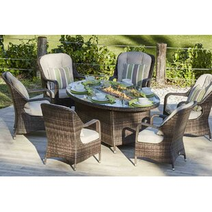 Carshalt 7 Piece Dining Set with Cushions and Firepit by Darby Home Co