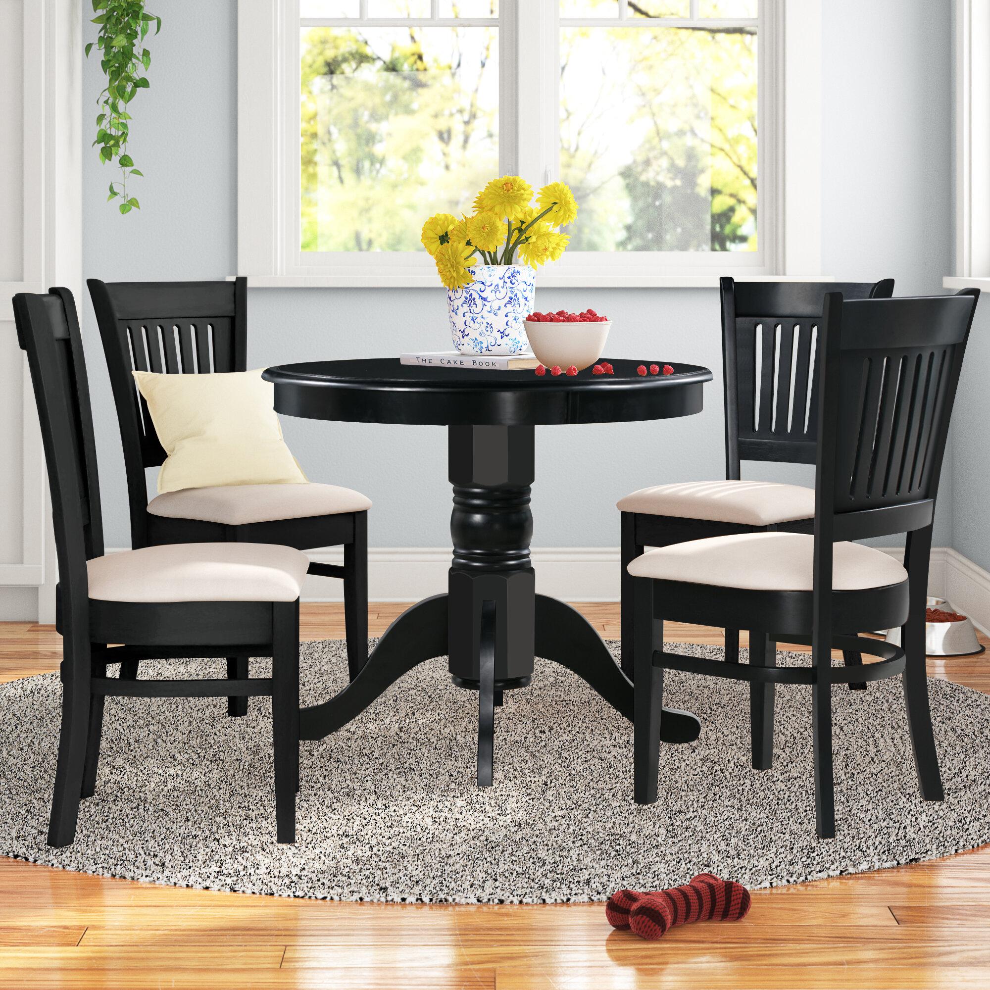 Andover Mills Montevia Elegant 5 Piece Rubber Solid Wood Dining Set Reviews Wayfair