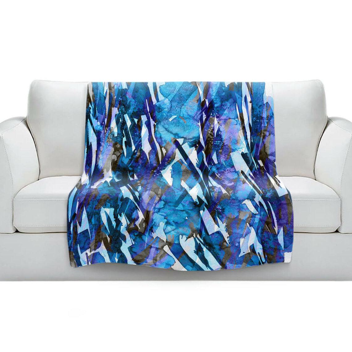 East Urban Home Frosty Bouquet Blue Blanket Wayfair