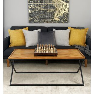 Metal and Wood Coffee Table with Tray Top Cole & Grey