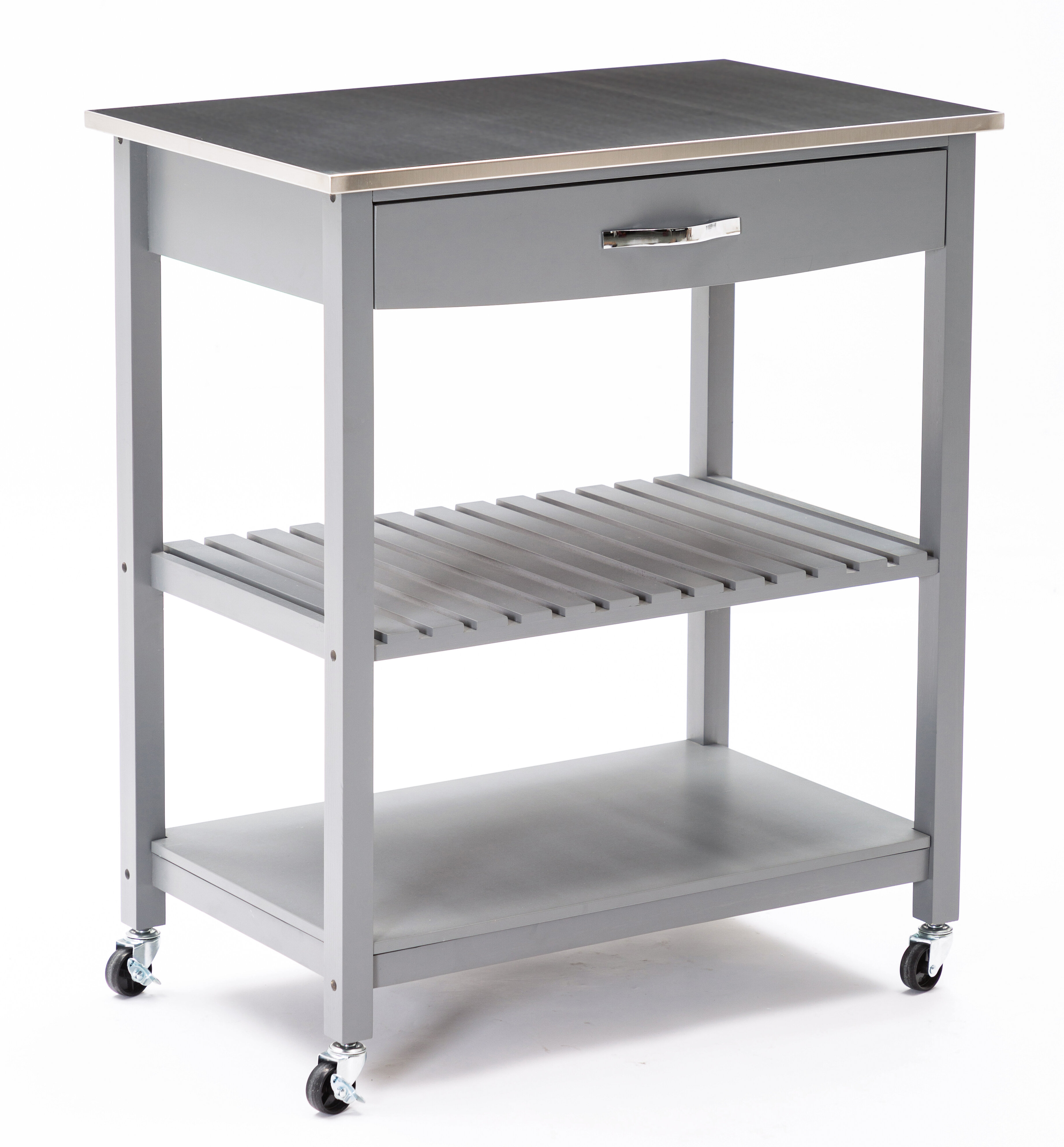 Ebern Designs Fast Forward Kitchen Cart With Stainless Steel Top Reviews