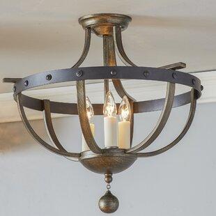 Semi flush mount ceiling lights youll love wayfair betty jo 3 light semi flush mount mozeypictures Images