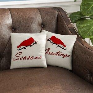 Seasons Greetings Cotton Throw Pillow Set (Set of 2)