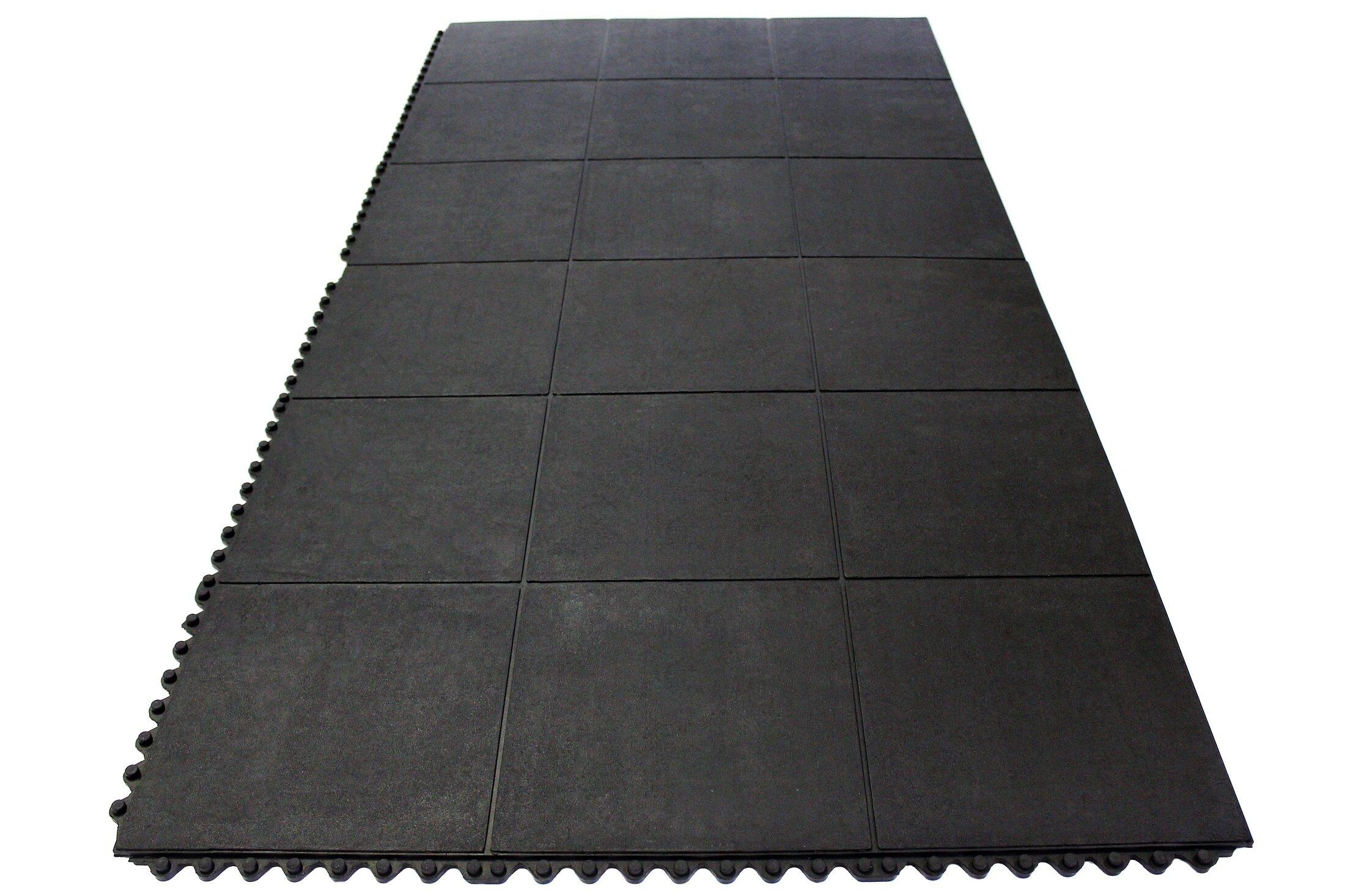 Envelor Home Heavy Duty Solid Rubber Garage Flooring Tiles In Black - Padded garage floor mats